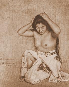 Woman Combing Her Hair  Yasuzo Nojima 1914gum bichromate print 28.5×23.1 The National Museum of Modern Art, Kyoto